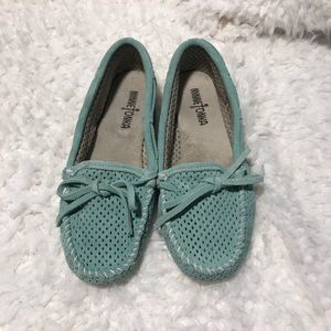Perforated Leather MINNETONKA Mint Green Mocs